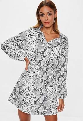 Missguided Grey Snake Print Shirt Dress