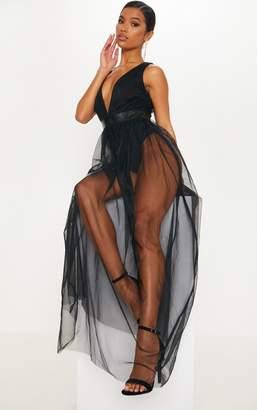 PrettyLittleThing Black Mesh Plunge Maxi Dress