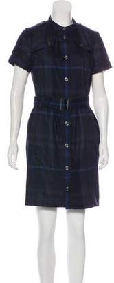 Burberry Overdyed Check Knee-Length Dress