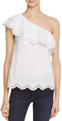 AQUA One Shoulder Eyelet Ruffle Top- 100% Exclusive $58 thestylecure.com