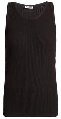 Miu Miu Cotton Jersey Tank Top - Womens - Black