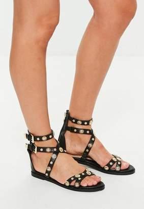 Missguided Black Flat Gold Stud Gladiator Sandal