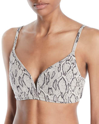 Seafolly Wild Side V-Wire Snake-Print Bikini Swim Top (DD Cup)