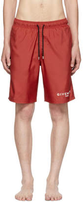Givenchy Red Logo Swim Shorts