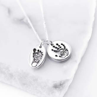 c6174892e Button and Bean Personalised Tiny Hand Foot And Paw Print Pendant