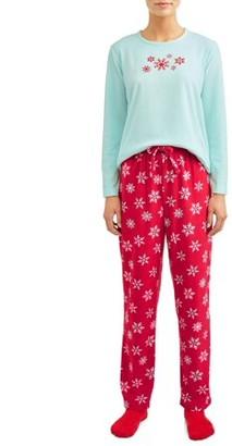 Mad Dog Women's and Women's Plus 3-Piece Micro Fleece Long Sleeve Top, Pant and Sock Sleep Set
