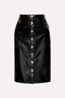 Versace Vinyl Midi Skirt - Black