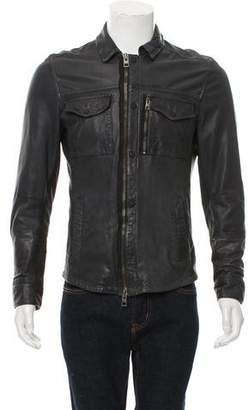 AllSaints Zip-Up Leather Jacket