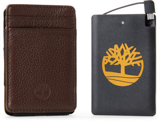 Timberland Two-Piece Brown Leather Wallet & Pocket Charger Set