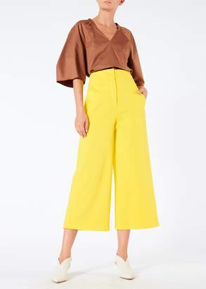 Tibi Garment Dyed Twill Cropped Wide Leg Jean