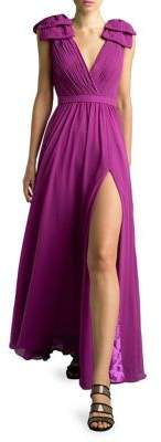 Basix II Shoulder Bow Crepe Gown