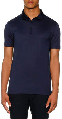 Lanvin Grosgrain-Collar Polo Shirt