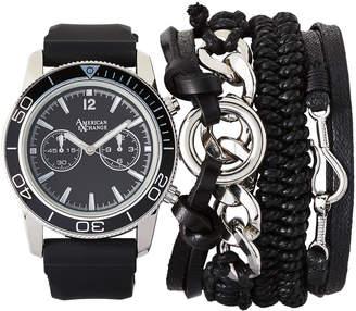 N. American Exchange MST5466 Silver-Tone & Black Watch & Bracelet Set