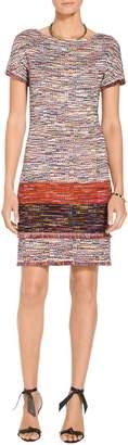 St. John Vertical Fringe Multi Tweed Knit Dress