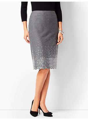 Talbots Scallop-Hem Sequined Pencil Skirt