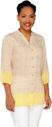Liz Claiborne New York 3/4 Sleeve Border Print Tunic