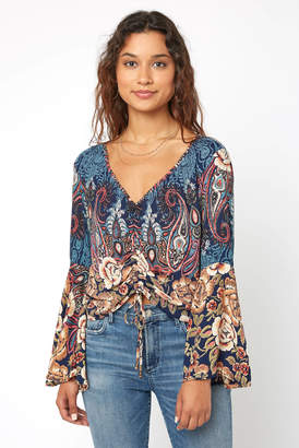Angie Mixed Print Rouched Front Bell Sleeve Top