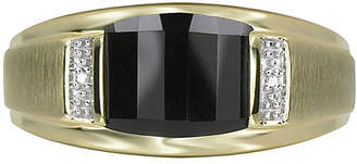 JCPenney FINE JEWELRY Mens Genuine Onyx & Diamond-Accent 10K Yellow Gold Ring