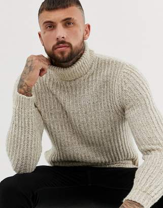 Asos Design DESIGN roll neck fisherman rib jumper in oatmeal