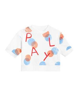 Burberry Play Long-Sleeve Spotted Top, Size 12M-2