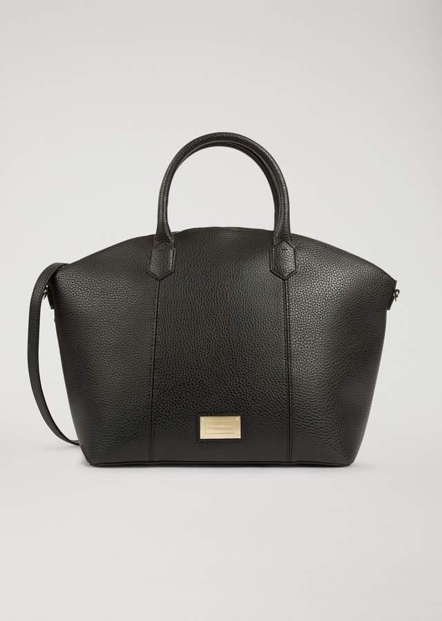 EMPORIO ARMANI hammered faux leather handbag.