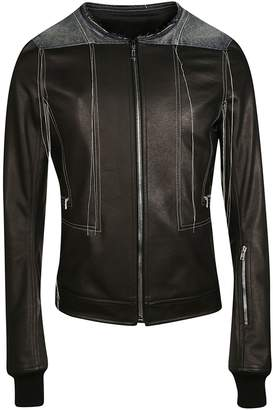 Contrast Stitch Leather Jacket