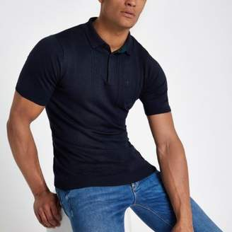 River Island Navy cable knit slim fit polo shirt
