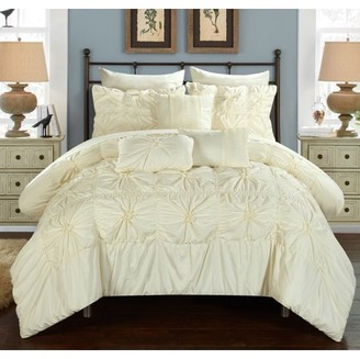 BEIGE Chic Home 10-Piece Grantfield Floral Pinch Pleat Ruffled Designer Embellished Queen Bed In a Bag Comforter Set With sheet set