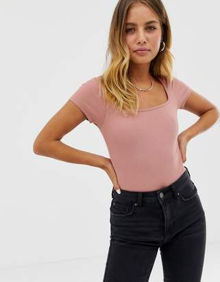 Asos DESIGN square neck body with cap sleeve in pink