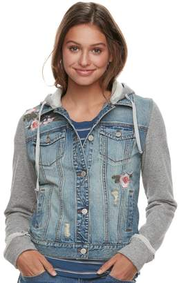 Mudd Juniors' Floral Knit-Sleeve Denim Jacket