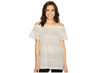 Vince Camuto Off the Shoulder Delicate Etching Side Slit Tunic Women's Short Sleeve Pullover