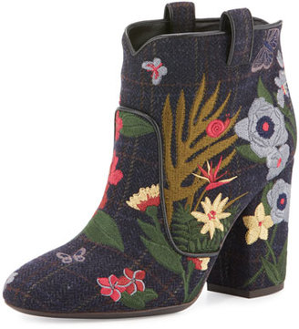 Laurence Dacade Pete Embroidered 95mm Bootie, Blue/Wine/Multi $995 thestylecure.com