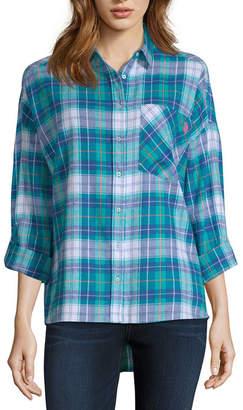 U.S. Polo Assn. USPA 3/4 Sleeve Collar Neck Flannel Shirt-Juniors