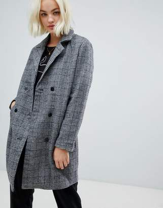 Blend She Sanna Check Wool Blend Tailored Coat