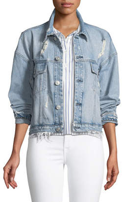 Hudson Rei Distressed Cropped Denim Jacket