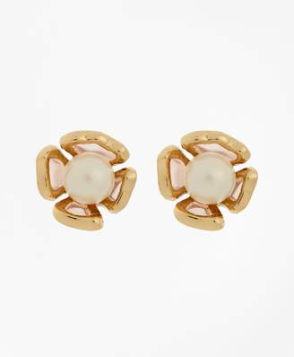 Brooks Brothers Floral Glass Pearl Stud Earrings