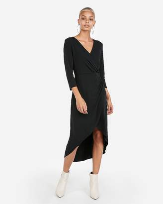Express Knit Surplice Hi-Lo Midi Dress