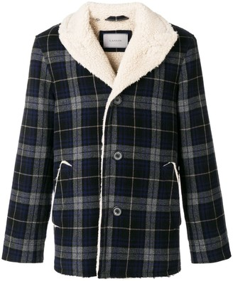 Lanvin tartan sheepskin coat
