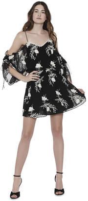 Alice + Olivia Holden Embroidered Cold Shoulder Mini Dress