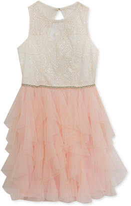 Rare Editions Embroidered Illusion-Neck Party Dress, Big Girls