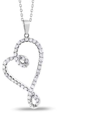 14K White Gold & 1.50ct Diamond Tilted Heart Pendant Necklace
