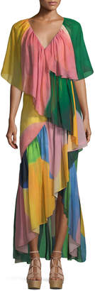 Rosetta Getty Reversible Tiered Silk Watercolor Maxi Dress