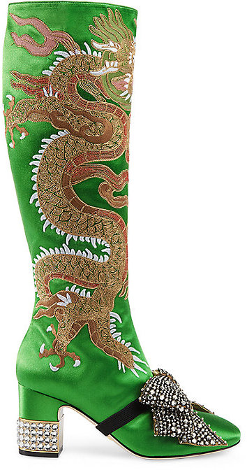 Gucci Women's Candy Embroidered Satin Knee Boots