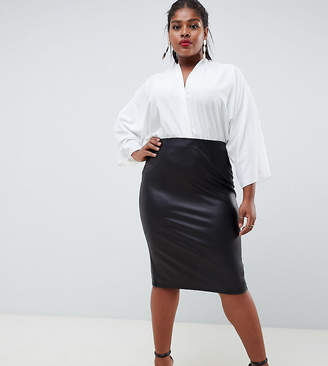 Asos Design Curve Leather Look Pencil Skirt