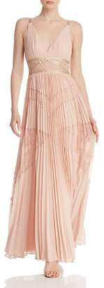 BCBGMAXAZRIA Pleated Lace Panel Gown