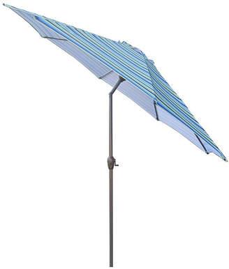 Asstd National Brand 9' Outdoor Patio Market Umbrella with Hand Crank and Tilt - Blue Stripe