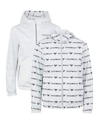 c9cb2a9f032d Armani Junior Reversible All Over Logo Jacket Colour  WHITE