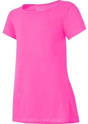 Hanes Girls Short Sleeve Ruffle Shirttail T-shirt