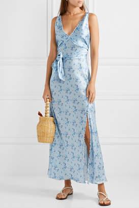 LoveShackFancy Kendall Floral-print Silk-satin Maxi Dress - Blue