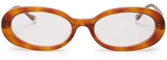 Le Specs Outskirt Oval Frame Acetate Glasses - Womens - Orange